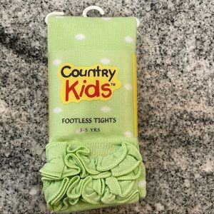Country Kids Ruffle Dot Footless Tights 3-5y Lime